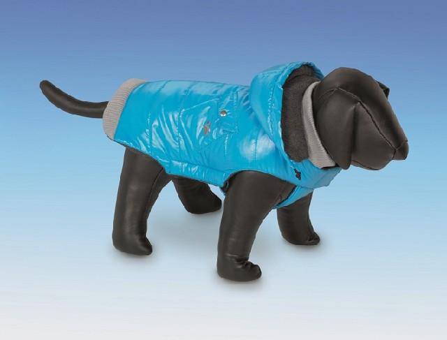 Nobby Ally Zimní lesklá bunda pro psa s kapucí modrá 44 cm AKCE