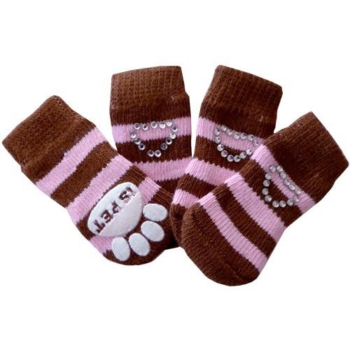 Ponožky pro psy Crystal Heart hnědé 4ks M