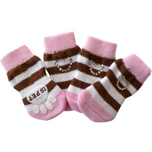 Ponožky pro psy Crystal Heart růžové 4ks M