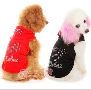 Tričko pro psa DOBAZ se srdcem z kamíků Červená